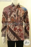 Kemeja Batik Branded Model Tangan Panjang Mewah Motif Bagus Proses Tulis, Pakaian Batik Solo Nan Berkelas Dalean Full Furing, Tampil Gagah Dan Mewah [LP11874TF-M]