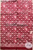 Kain Batik Motif Kupu Proses Cap, Batik Kain Solo Jawa Tengah Warna Merah Bahan Pakaian Wanita Untuk Kerja Atau Acara Resmi Hanya 100 Ribu Saja [K3453C-200x110cm]