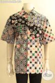 Baju Batik Hem Pria Gemuk Terbaru, Kemeja Batik Modis Halus Motif Keren Jenis Cap Bahan Adem Yang Cocok Untuk Acara Santai Maupun Resmi [LD12016C-XXL]