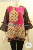Model Busana Batik Wanita Terbaru Asli Buatan Solo, Blouse Batik Modern Tanpa Kerah Lengan 3/4 Berpita Bahan Halus Bikin Penampilan Cantik DAn Anggun [BLS9126P-L]