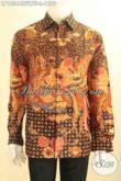 Produk Terbaru Kemeja Batik Tulis Sutra Nan Mewah, Pakaian Batik Solo Halus Lengan Panjang Full Furing Yang Bikin Pria Sukses Tampil Sempurna [LP12044SUWTF-L]