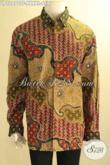 Batik Kemeja Mewah Lengan Panjang Exclusive Untuk Pria Gemuk Sekali, Pakaian Batik Premium Jenis Tulis Pakai Furing, Tampil Gagah Berwibawa [LP12072TF-XXXXL]