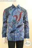 Koleksi Terbaru Busana Batik Pria Lengan Panjang Desain Mewah Motif Elegan Warna Biru, Baju Batik Solo Asli Nan Berkelas Cocok Untuk Acara Resmi [LP12076BTF-M]