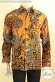 Model Kemeja Batik Pria Khas Jawa Tengah Terbaru, Busana Batik Lengan Panjang Elegan Motif Mewah Warna Kuning Jenis Kombinasi Tulis Daleman Full Furing Hanya 350K [LP12077BTF-M]