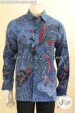 Kemeja Batik Solo Warna Biru Nan Bereklas, Hadir Dengan Motif Elegan Tren Masa Kini Jenis Kombinasi Tulois, Bahan Halus Model Lengan Panjang Full Furing Hanya 300 Ribuan [LP12081BTF-L]