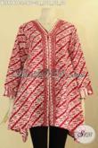 Busana Batik Wanita Warna Merah Motif Mewah, Pakaian Batik Istimewa Motif Parang Nan Elegan Untuk Wanita Kerja Dan Ibu Rumah Tangga Tampil Berkelas [BLS9141C-L]