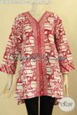 Koleksi Terbaru Busana Batik Wanita Tren Masa Kini, Blouse Batik Solo Jawa Tengah Kekinian Yang Menunjang Penampilan Cantik Menawan [BLS9143C-L]