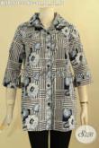 Model Pakaian Batik Wanita Muda Maupun Dewasa Terkini, Blouse Batik Kerja Nan Elegan Desain Berkerah Motif Bagus Jenis Cap, Cocok Juga Untuk Hangout [BLS9151C-L]