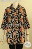Baju Batik Atasan Untuk Wanita Kerja, Blouse Batik Solo Asli Desain Berkerah Motif Bagus Jenis Cap Bahan Halus Yang Nyaman Di Pakai [BLS9154C-L]