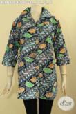Batik Blouse Istimewa Motif Parang Bunga, Busana Batik Wanita Dewasa Warna Berkelas Jenis Cap Bahan Halus Nyaman Di Pakai, Tampil Lebih Gaya Dan Mempesona [BLS9160C-XL]