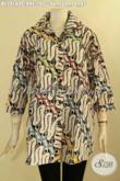 Busana Batik Wanita Motif Elegan Klasik, Blouse Batik Solo Jawa Tengah Nan Berkelas Desain Kerah Proses Cap, Spesial Untuk Wanita Gemuk [BLS9164C-XXL]
