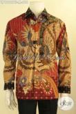 Kemeja Batik Formal Pria Lengan Panjang Mewah, Busana Batik Solo Full Furing Motif Elegan Tulis Asli, Pas Buat Kondangan Dan Kerja [LP12107TF-M]