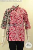 Blouse Batik Trendy Dengan Paduan Warna Berkelas Model Kerah Shanghai Lengan 3/4 Kombinasi Plesir Polos Hanya 100 Ribuan [BLS9230C-M]