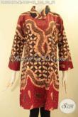 Dress Batik Wanita Dewasa Size XL, Pakaian Batik Istimewa Untuk Acara Resmi Dan Ke Kondangan Model Kerah Miring Lengan 7/8 Di Lengkapi Dengan Kancing Depan Motif Elegan Hanya 100 Ribuan Saja [DR9284PB-XL]