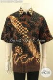 Produk Terbaru Pakaian Batik Mewah Lengan Pendek Halus Jenis Tulis Soga, Busana Batik Solo Premium Furing Desain Terkini, Spesial Untuk Lelaki Gemuk [LD12122TSF-XXL]
