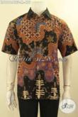 Kemeja Batik Pria Muda Motif Keren Lengan Pendek Jenis Tulis Lasem, Pakaian Batik Kerja Berkelas Daleman Full Furing Tampil Mewah Harga Terjangkau [LD12124TSF-M]