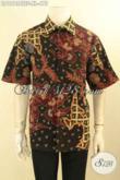 Produk Terbaru Kemeja Batik Pria Lengan Pendek Mewah Full Furing, Baju Batik Hallus Moti Keren Jenis Tulis Lasem, Tampil Makin Gagah Maksimal [LD12134TDF-XL]