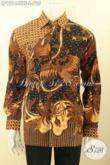Baju Batik Kerja Mewah Para Pejabat Dan Eksekutif, Kemeja Batik Solo Tulis Soga Lengan Panjang Motif Elgan Daleman Full Furing, Bisa Juga Untuk Kondangan [LP12144TSF-L]