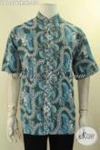 Baju Batik Solo Kerah Shanghai Halus Warna Bagus, Kemeja Batik Lengan Pendek Pria Dewasa Motif Terkini Jenis Cap Hanya 100 Ribuan Saja [LD12276CK-XL]