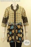 Blouse Atasan Batik Wanita Model Kerah Shanghai Lengan 3/4 Berpadu Dengan Motif Elegan Dan Berkelas Jenis Printing, Cocok Buat Ngantor Maupun Acar Resmi [BLS9319P-S]