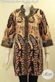 Batik Blouse Modern Lengan 3/4, Pakaian Batik Solo Model Kerah Shanghai Dengan Motif Elegan Jenis Print, Pilihan Terbaik Untuk Tampil Berkelas Dengan Harga Terjangkau [BLS9324P-XL]