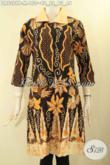 Dress Batik Wanita Motif Terkini Jenis Printing, Baju Batik Kerah Polos Lengan 7/8 Kwalitas Bagus Model Kancing Depan Tampil Cantik Dan Mewah [DR9329P-M]