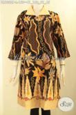 Dress Batik Modern Nan Istimewa, Hadir Dengan Desain Kerah Polos Pakai Kancing Depan Lengan 7/8 Bahan Halus Nyaman Di Pakai [DR9332P-L]