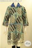 Batik Wanita Dewasa Warna Bagus Bahan Halus Desain Kekinian, Pakaian Batik Wanita Tren Masa Kini Lengan 7/8 Pakai Kancing Depan Hanya 100 Ribuan [DR9334P-XL]