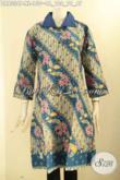 Dress Batik Perempuan Ukuran XL, Baju Batik Wanita Dewasa Motif Elegan Klasik Jenis Printing, Busna Batik Terkini Model Kerah Polos Kancing Depan Lengan 7/8 Nan Istimewa [DR9336P-XL]