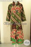 Jual Online Gamis Batik Khas Solo, Busana Gamis Batik Kekinian Model Resleting Depan Kwalitas Istimewa Berpadu Dengan Motif Klasik Nan Elegan Hanya 200 Ribuan Saja [GM9385P-XL]