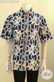 Busana Batik Pria Motif Modern Model Lengan Pendek, Kemeja Batik Kekinian Yang Bikin Penampilan Terlihat Beda Dan Stylish [LD12441C-XL]