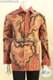 Produk Baju Batik Pria Lengan Panjang Terkini, Busana Batik Premium Motif Elegan Proses Tulis Tampil Berkelas Dengan Daleman Full Furing [LP12459TF-L]
