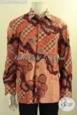 Kemeja Batik Tulis Pria Lengan Panjang Mewah Full Furing, Busana Batik Kerja Desain Formal Berbahan Halus Motif Terkini Bikin Penampilan Gagah Menawan [LP12558TF-L]