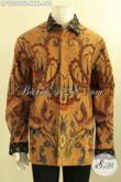 Kemeja Batik Pria Gemuk Sekali, Busana Batik Tulis Khas Solo Motif Elegan Model Lengan Panjang Full Furing, Pilihan Terbaik Tampil Berkelas [LP12566TF-XXXL]