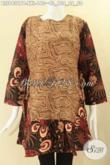 Produk Terbaru Baju Batik Wanita Gemuk Nan Modis Kombinasi 2 Motif, Busana Batik Modern Kwalitas Istimewa Pakai Resleting Belakang Lengan 7/8 Bertali Kanan Kiri Di Pinggang Hanya 100 Ribuan [BLS9431PB-XXL]