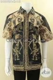 Koleksi Terbaru Kemeja Lengan Pendek Batik Solo Motif Bagus, Busana Batik Modern Kekinian Jenis Print Cabut, Cocok Banget Untuk Kondangan Dan Seragam Kerja [LD12672PB-XL]