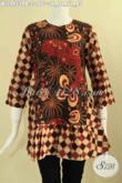 Jual Online Baju Batik Perempuan Terbaru, Blouse Batik Modis 2 Motif Lenan 7/8 Bahan Halus Yang Nyaman Di Pakai, Di Lengkapi Resleting Belakang Dan Tali Pinggang Kanan Kiri [BLS9453PB-S]
