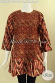 Koleksi Terbaru Baju Batik Solo Model Resleting Belakang Kombinasi 2 Motif Lengan 7/8 Dan Bertali Di Bagian Kanan Kiri Hanya 100 Ribuan Saja [BLS9461PB-L]
