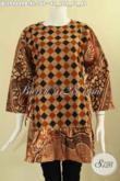 Agen Baju Batik Online Dengan Koleksi Terlengkap, Jual Blouse Batik Modern Lengan 7/8 Kombinasi 2 Motif Pakai Resleting Belakang Dan Bertali Di Bagian Pinggang Kanan Kiri, Pas Buat Ngantor [BLS9464PB-XL]