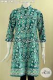 Dress Batik Batik Model Lengan 7/8 Kerah Shanghai Kancing Depan, Cocok Untuk Wanita Sebagai Seragam Kerja Dan Menghadiri Acara Resmi [DR9485C-M]