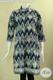 Dress Batik Modern Model Kerah Shanghai Lengan 7/8 Di Lengkapi Dengan Kancing Depan, Berbahan Halus Motif Terkini Proses Cap Yang Nyaman Di Pakai [DR9486C-M]