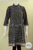 Dress Batik Kerah Shanghai Motif Truntum Lengan 7/8 Di Lengkapi Kancing Depan, Pakaian Batik Wanita Masa Kini Yang Modis Untuk Acara Santai Maupun Resmi [DR9488C-M]