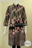 Pusat Busana Batik Wanita Khas Solo Online, Jual Dress Batik Kerah Shanghai Halus Motif Bagus Lengan 7/8 Pakai Kancing Depan, Tampil Lebih Modis Dan Trendy [DR9498C-XXL]