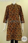 Dress Batik Jumbo Model Kerah Shanghai Kwalitas Bagus Berpadu Dengan Motif Kekinian, Baju Batik Wanita Kancing Depan Lengan 7/8 Tampil Lebih Cantik Dan Modis [DR9499C-XXL]