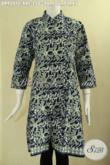 Busana Batik Dress Khas Jawa Tengah Cocok Untuk Acara Resmi Dan Seragam Kerja Kantor, Model Kerah Shanghai Pakai Kancing Depan Lengan 7/8 [DR9501C-XXL]