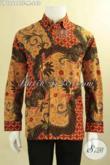 Jual Kemeja Batik Lengan Panjang Mewah Khas Solo Daleman Full Furing, Baju Batik Resmi Jenis Tulis Untuk Kerja Maupun Rapat Tampil Berkelas [LP12684TF-M]