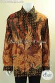 Produk Baju Batik Solo Premium Lengan Panjang Big Size, Kemeja Pria Gemuk Motif Bagus Jenis Tulis Nan Mewah Di Lengkapi Lapisan Furing, Penampilan Lebih Berkelas [LP12713TF-XXXL]