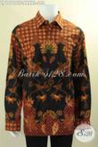 Kemeja Batik Premium Lengan Panjang Spesial Untuk Pria Gemuk Sekali, Busana Batik Formal Istimewa Motif Terbaru Jenis Tulis Di Lengkapi Lapisan Furing, Tampil Lebih Berkelas [LP12718TF-XXXXL]
