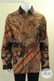 Kemeja Batik Mewah Khas Solo Jawa Tengah, Baju Batik Lengan Panjang Istimewa Pakai Furing Bahan Halus Nyaman Di Pakai, Motif Terkini Jenis Tulis Asli [LP12720TF-XXXXL]