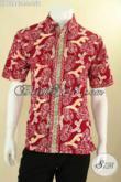 Jual Kemeja Batik Keren Warna Merah Kwalitas Mewah Harga Murah, Baju Batik Solo Motif Trendy Jenis Cap, Bikin Penampilan Gagah Dan Gaya [LD12843C-L]